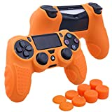 Cheap YoRHa Perfect Grip No Smell Silicone Cover Skin Case for Sony PS4/slim/Pro controller x 1(orange) With Pro thumb grips x 8