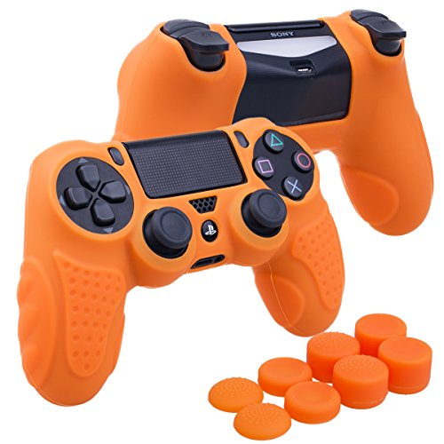YoRHa Perfect Grip No Smell Silicone Cover Skin Case for Sony PS4/slim/Pro controller x 1(orange) With Pro thumb grips x 8