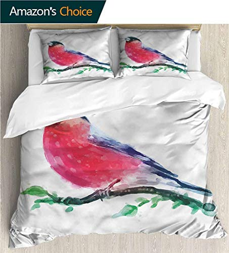 (VROSELV-HOME Full Queen Duvet Cover Sets,Box Stitched,Soft,Breathable,Hypoallergenic,Fade Resistant Duvet Cover with Pillowcases Child Bedding Sets,-Bird Red Capped Robin On Branch (90
