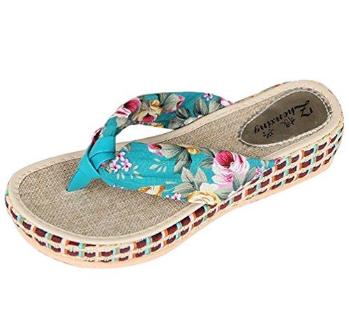 Sentao Verano Bohemia Playa de Sandalias de plataforma cuña plana Flip Flops zapatillas de Mujeres Azul