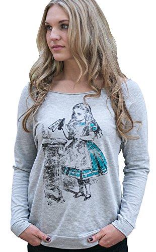 Superluxe™ Womens Drink Me Vintage Alice in Wonderland French Terry T-Shirt, Small, Heather Grey (Alice In Wonderland Shop)