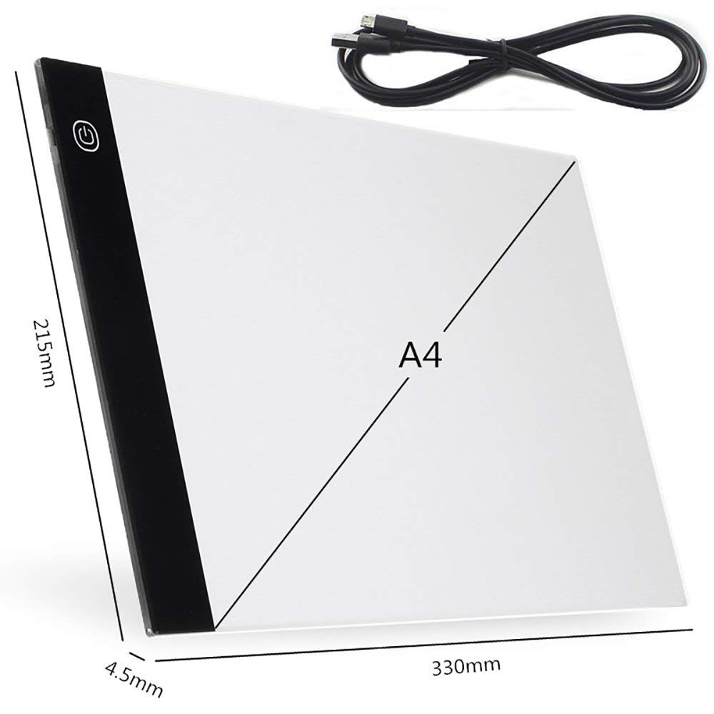 A4 Ultra-Thin Portable LED Light Box Tracer USB Power Cable Dimmable Brightness LED Artcraft Tracing Light Pad for Artists Drawing Sketching Animation Stencilling X-ray Viewing