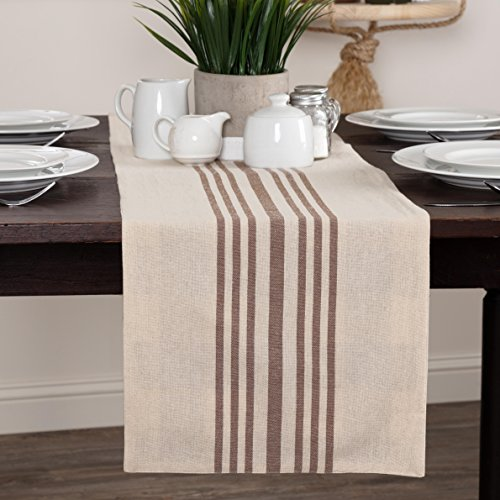 Dublin Stripe & Check Reversible Table Runner, 13″ x 72″, Country Farmhouse Kitchen & Dining Table Décor