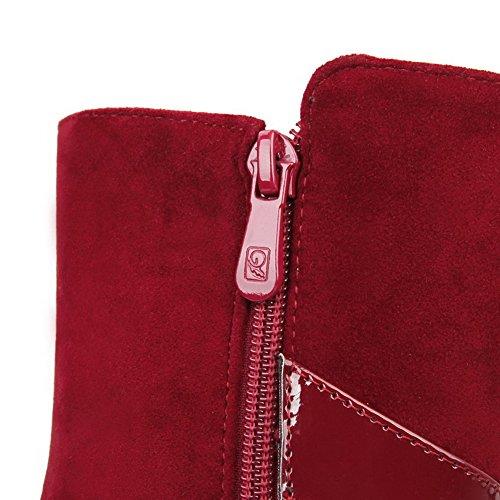 AllhqFashion Mujeres Tacón Alto Caña Baja Sólido Cremallera Botas Rojo