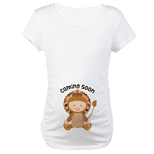 784a71d3 CafePress Baby Lion Coming Soon Cotton Maternity T-Shirt, Cute & Funny  Pregnancy Tee