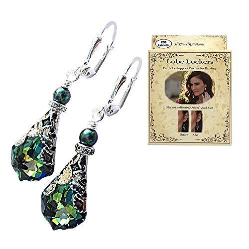 HisJewelsCreations Baroque Crystal Vintage Inspired Leverback Dangle Drop Earrings (Green with Lobe Locker)