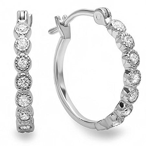 0.25 Carat (ctw) 10K White Gold Round White Diamond Fine Dainty Hoop Earrings 1/4 CT by DazzlingRock Collection
