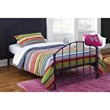 BrickMill Ivy Twin Metal Bed, Complete with headboard/footboard and metal slats, Contemporary style, Sturdy metal frame, Purple