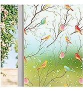 Coavas Privacy Window Film Opaque Non-Adhesive Frosted Bird Window Film Decorative Glass Film Sta...