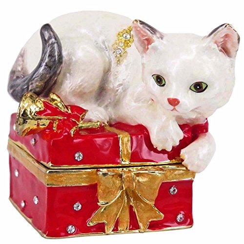 - RUCINNI Kitty Jeweled Trinket Box Swarovski Crystals