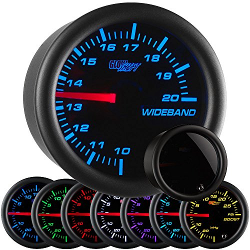 GlowShift Tinted 7 Color Needle Wideband Air/Fuel Ratio Gauge with Oxygen Sensor & Data Logging (Analog Wide Band Air)