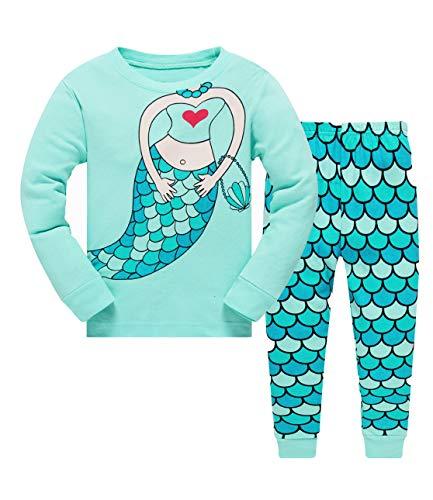 Qzrnly Little Girls Pajamas Set Deer Cotton Sleepwear Giraffe 18M- 7Years Clothes Set (6-7years, Green/Mermaid) -