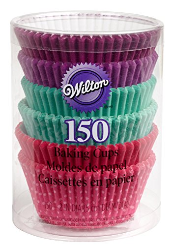 Wilton Purple, Turquoise & Pink Assorted Standard Baking Cup Mega Pack, 150 Count