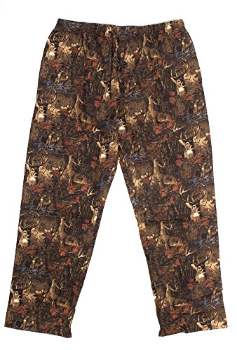 Camouflage Flannel (North 15 - Men's %100 cotton Flannel, Camouflage Lounge Pants-1223-Print3-Lg)