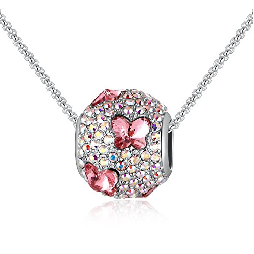 Swarovski Element Bead Charms Pink Butterfly Beads Necklace with Swarovski Crystals, 18