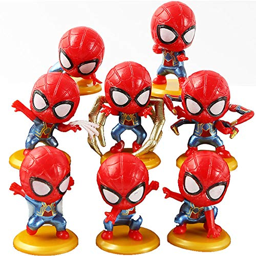 JianYia Marvel Superhero Spider-Man Figures 8 Piece Set,Birthday Present and Cake top Decoration
