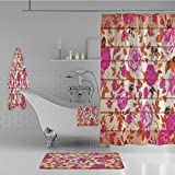 iPrint Bathroom 4 Piece Set Shower Curtain Floor mat Bath Towel 3D Print,Color Roses on Wood Background Well Being and Love,Fashion Personality Customization adds Color to Your Bathroom.