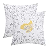 CaliTime Pack of 2 Cotton Throw Pillow Cases Covers for Bed Couch Sofa Cute Butterfly in Gray Garden Embroidered 18 X 18 inches Gold