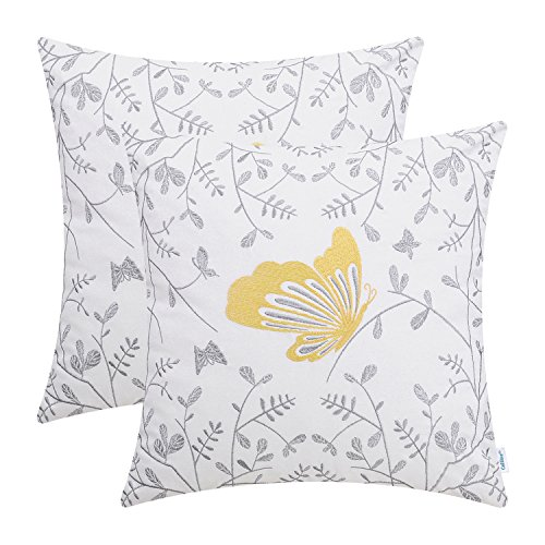 CaliTime Pack of 2 Cotton Throw Pillow Cases Covers for Bed Couch Sofa Cute Butterfly in Gray Garden Embroidered 18 X 18 inches Gold ()