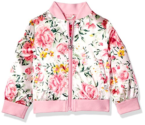 Pink Platinum Toddler Girls' Floral Satin Bomber, Cream, (Varsity Bomber)