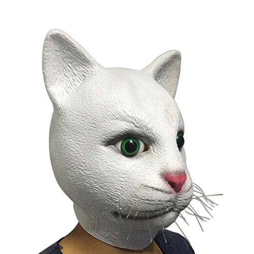 Olibay Halloween Mask Scary White Cat Costume Ghost Cosplay Party Rotten Gums (Cheap White Mask)