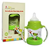GoGlass Borosilicate Glass Baby Bottle 4 oz BPA Free With Extra Nipple Included Free (Green) - Best Feeding Bottles For Preemie, Newborns, Infants, and Toddlers Shower Gifts