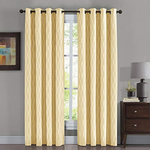 Victoria Thermal Blackout Panels, Top Grommet Jacquard Room Darkening Window Curtains, Pair, Set of 2 Panels, 54 inches Width by 63 inches Long Each Panel, Light Yellow (Curtains Yellow Drapes Pale And)