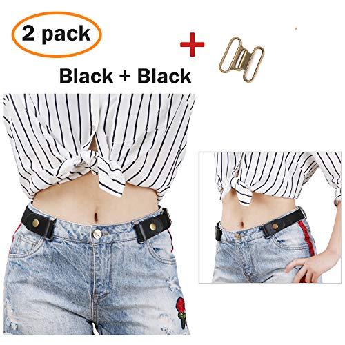 2 Pack Elastic Women Jeans Belt Free Buckle, No Bulge No Show Unisex Belt Black