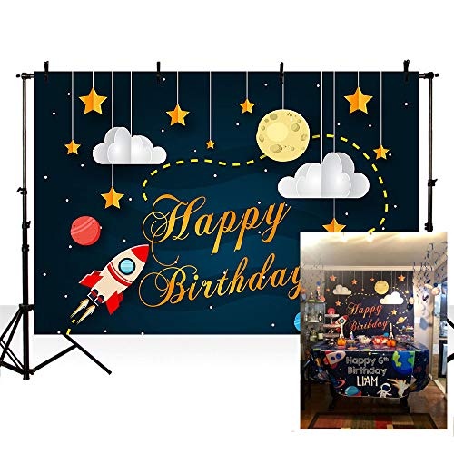 MEHOFOTO Cartoon Space Themed Photo Background Rocket Starry Sky Moon Cloud Boy Happy Birthday Party Decorations Banner Child Backdrops for Photography 7x5ft (Rocket Birthday)