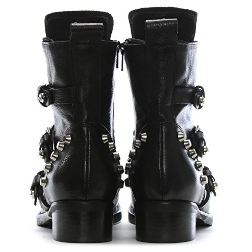 Daniel Botas de Motorista de Cuero diamboot Negro Black Leather