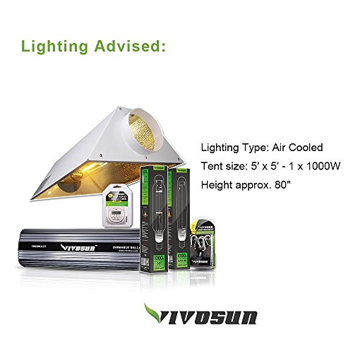 """51T%2BXD626KL - VIVOSUN 60""""x60""""x80"""" Mylar Hydroponic Grow Tent with Observation Window and Floor Tray for Indoor Plant Growing 5'x5'"""