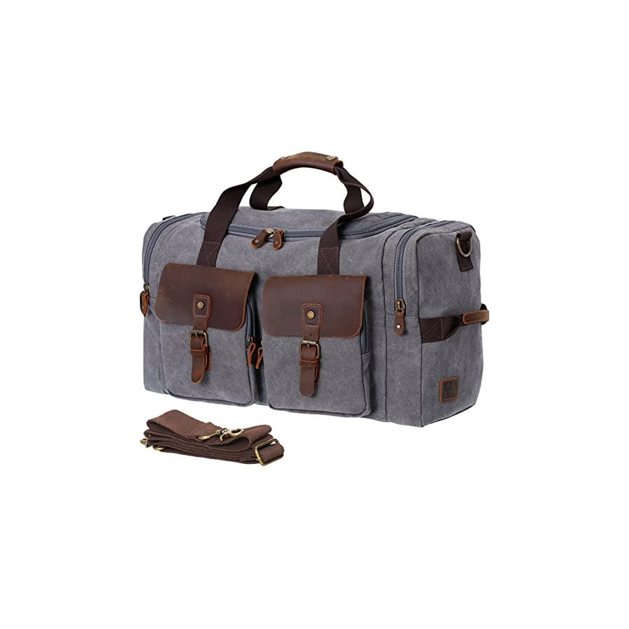 41e413afd1 WOWBOX Duffel Bag Travel Weekender Bag for Men Womens Genuine Leather  Canvas Overnight Bags Luggage Bag