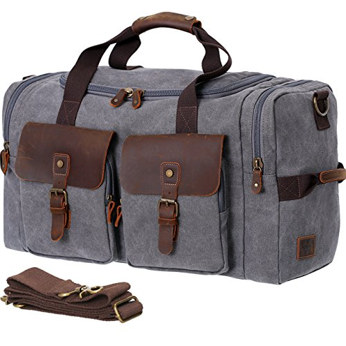 WOWBOX Duffle Bag Weekender Bag for Men Genuine Leather Canv