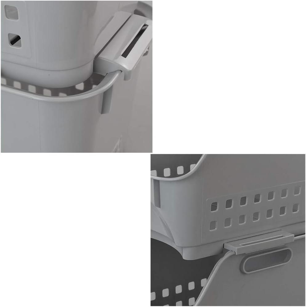Cadine Cesta De Pl/áStico Apilable De 3 Niveles Gris Cesta De Almacenaje Apilamiento