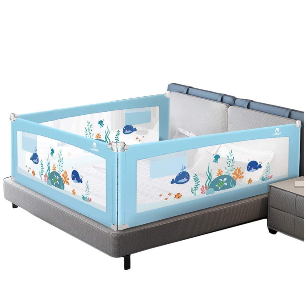 LIQICAI ベッドレール ベッドフェンス, 3面用3セット(2長さ側と1フィート側) 幼児用ベッドレールガード キッズガードレール 子供用安全サイドレール (色 : 青, サイズ さいず : 2.0X2.2X2.2M) 2.0X2.2X2.2M 青 B07RBQD8SW