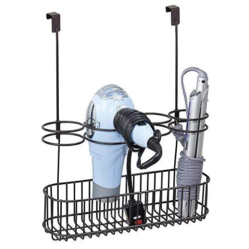 mDesign Metal Over Door Bathroom Hair Care & Styling Tool Organizer Storage Basket for Hair Dryer, Flat Irons, Curling Wands, Hair Straighteners - Hang Inside/Outside Cabinet Doors - Bronze