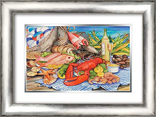 (Seafood Platter 23x17 Silver Contemporary Wood Framed and Double Matted Art Print by McKenna, Kathleen)
