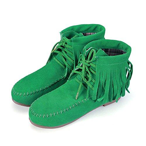 Hiver Confort green Courtes Bottes Femme Automne Ville Bottine Frestepvie Plates Frange Lacets Classique Chaussure Boots Suédine qOfvX1Zxw