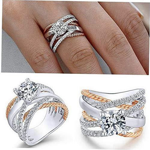 (Crookston Women Infinity Two Tone 925 Silver Wedding Rings White Topaz Sapphire Size 6-10   Model RNG - 2137   10)