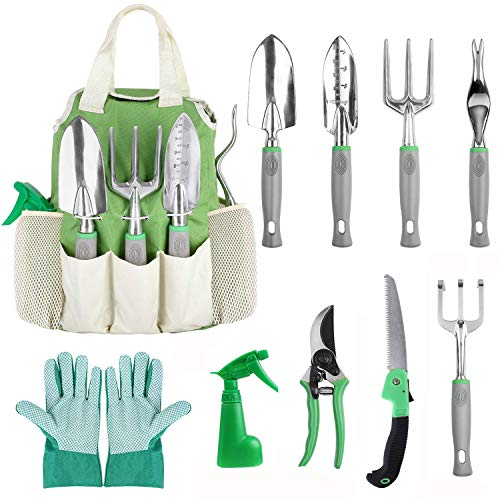 FIXKIT Garden Tool Set, 10 Piece Aluminum Hand Tool Kit, Garden Planting Canvas Tote, Heavy Duty Gardening Tools for Women Men (Tools Gardening Of)