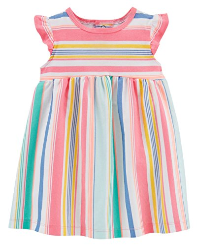 Carter's Baby Girls Cottone Striped Dress Flutter Sleeves Diaper Cover (6M) Pink ()