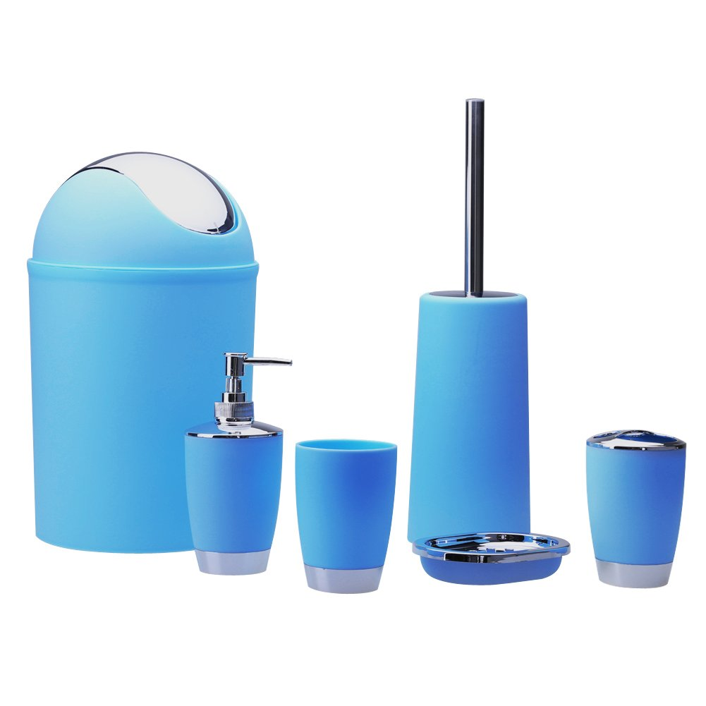 Bathroom Sets, Bathroom Toiletries, Trash, Plastic Bathroom Set, Bin Soap Dish Dispenser Tumbler Toothbrush, Set of 6 TTnight