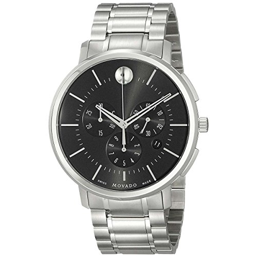 Movado Ultra-Thin Chronograph Black Dial Stainless Steel Men's Watch 0606886