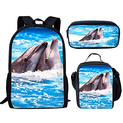 Showudesigns School Backpack Set Insulated Lunch Bag Small Pencil Case Couple Dolphins ()
