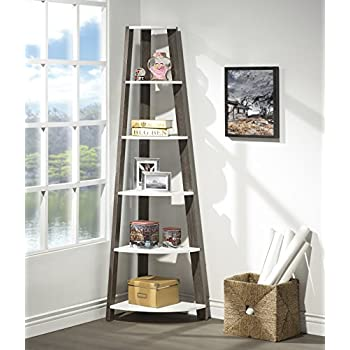 White Grey Finish Two Tone Wood Wall Corner 5 Tier Bookshelf Bookcase Accent