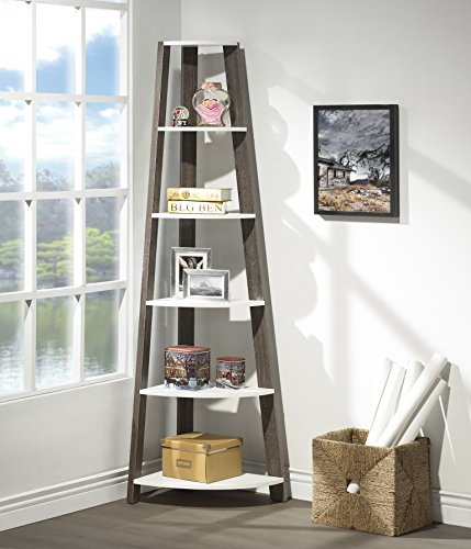 White Grey Finish Two-Tone Wood Wall Corner 5-Tier Bookshelf Bookcase Accent Etagere