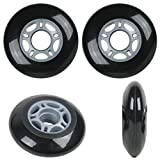 Black Blank 72mm 82A Inline OUTDOOR Skate Wheels 4-Pack