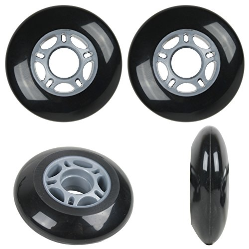 Player's Choice Inline Skate Wheels 80mm 82A Black Outdoor Roller Hockey Rollerblade 4 Pack