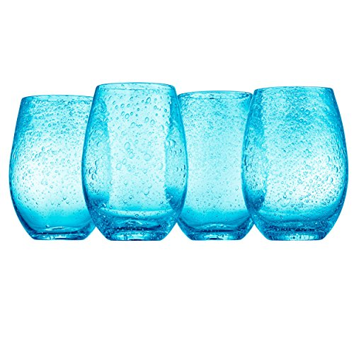 Artland Iris Stemless Glasses, Turquoise, Set of 4 (Glasses Water Turquoise)