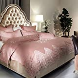 Cotton Satin Four Set Of Duvet Cover Lace Four Sets Of(1Quilt cover 1 Bed sheets 2pillowslip)-A King